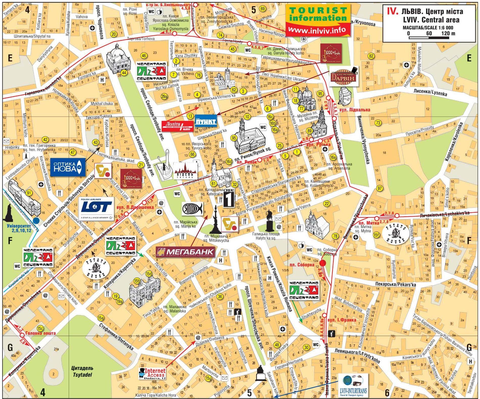 Lwow Mapa Zabytkow