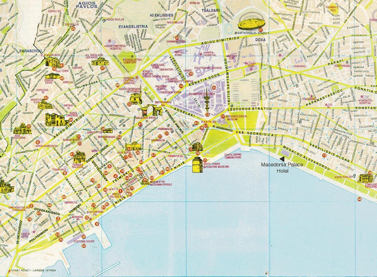 Saloniki Mapa Zabytkow
