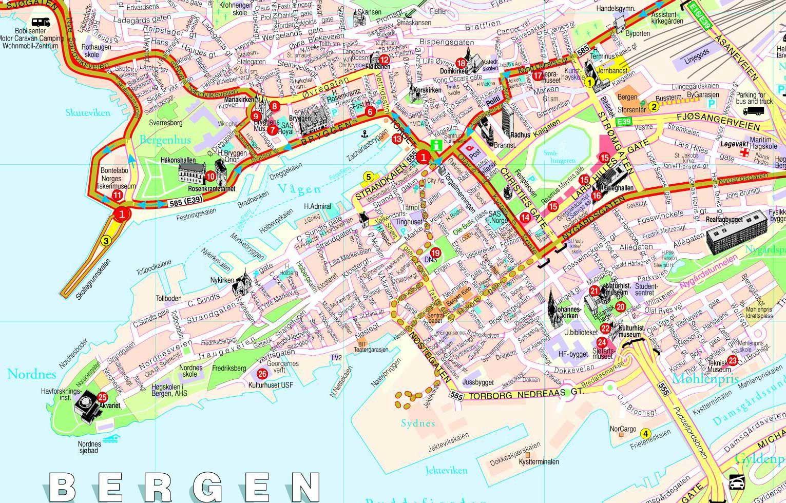 Bergen Mapa Zabytkow