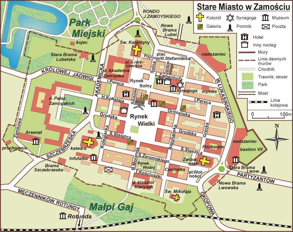Zamosc Mapa Zabytkow