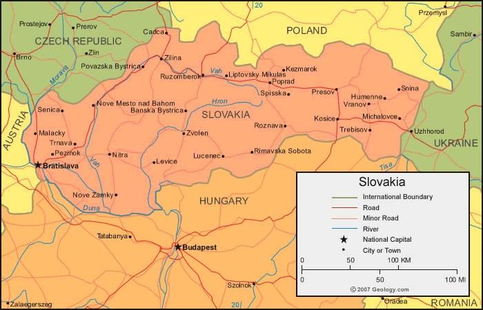 Slowacja Mapa