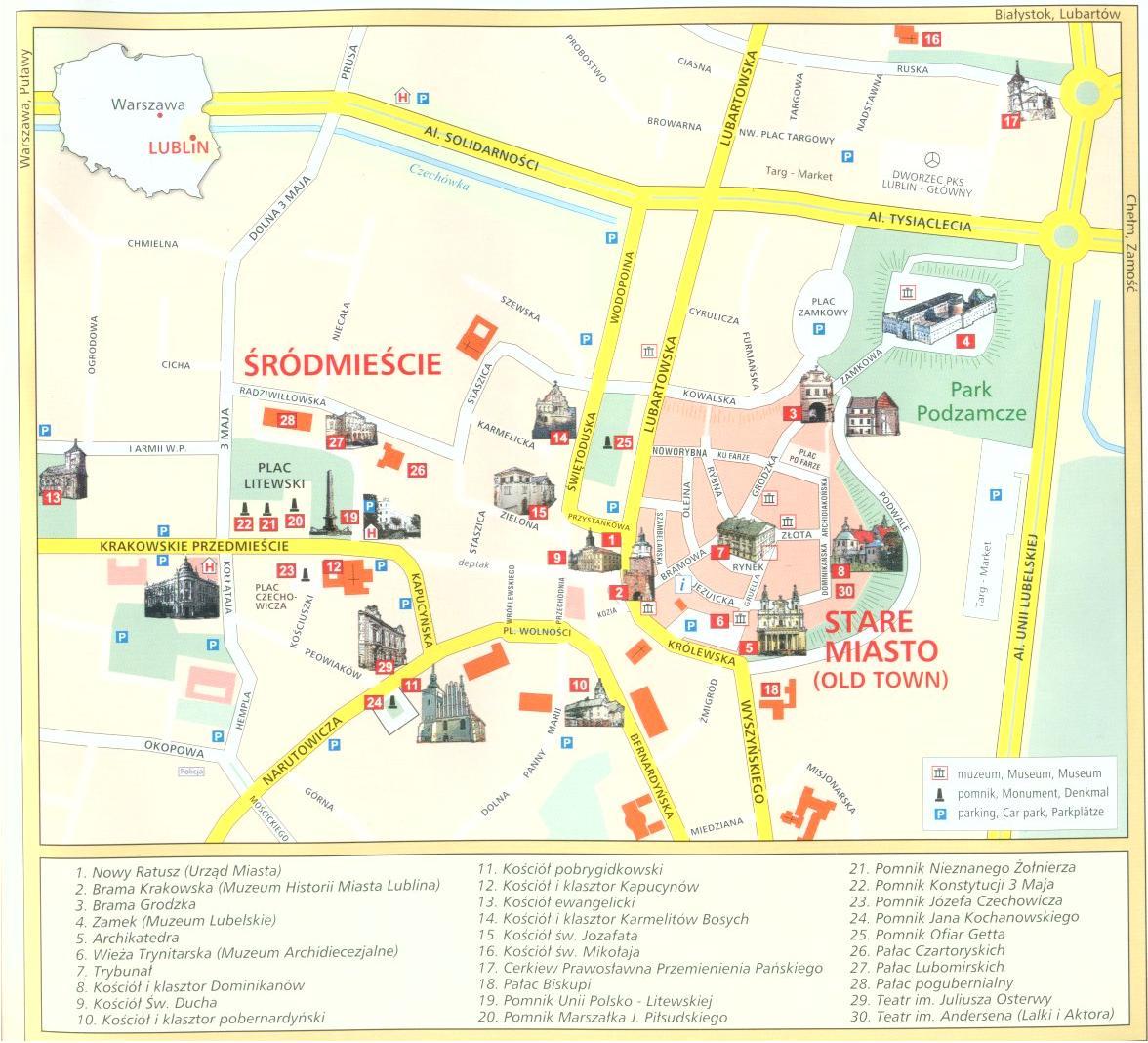Lublin Mapa Zabytkow