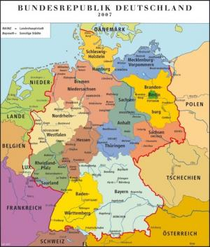 Niemcy - Landy niemieckie mapa