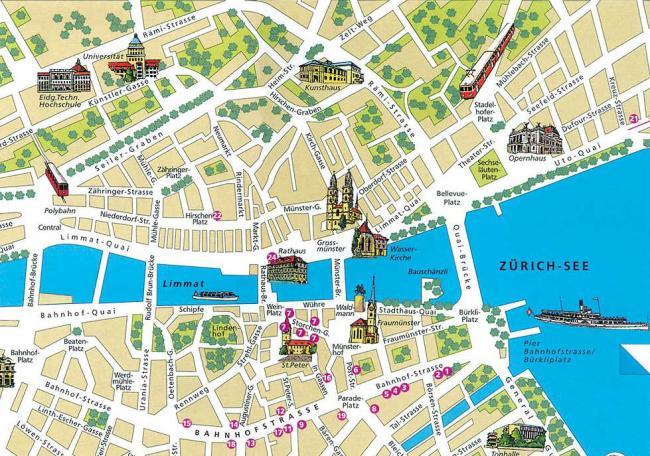 Zurych mapa zabytków