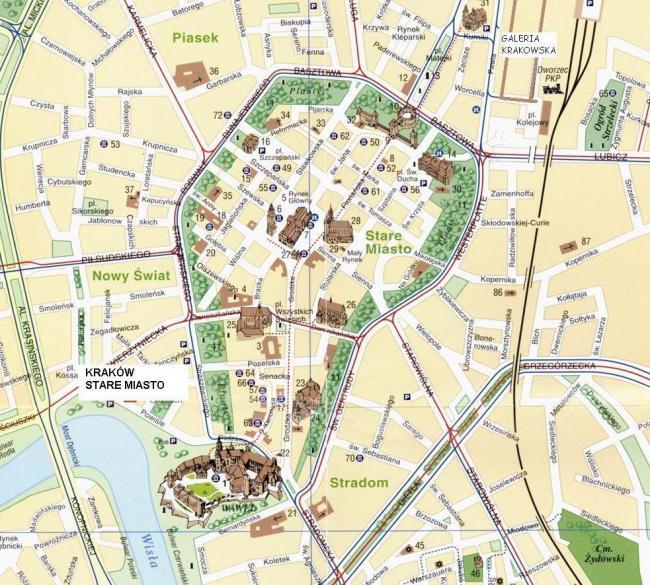 Kraków mapa starówki