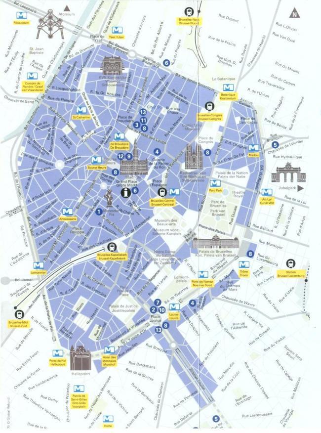 Bruksela mapa zabytków