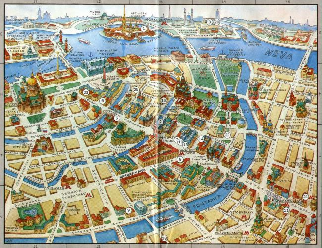 Sankt Petersburg mapa zabytków