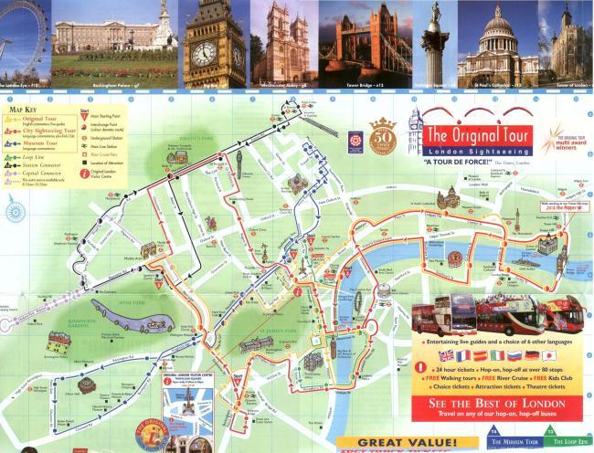 Londyn mapa zabytków