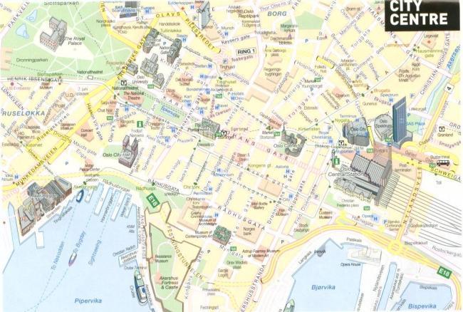 Oslo mapa zabytków