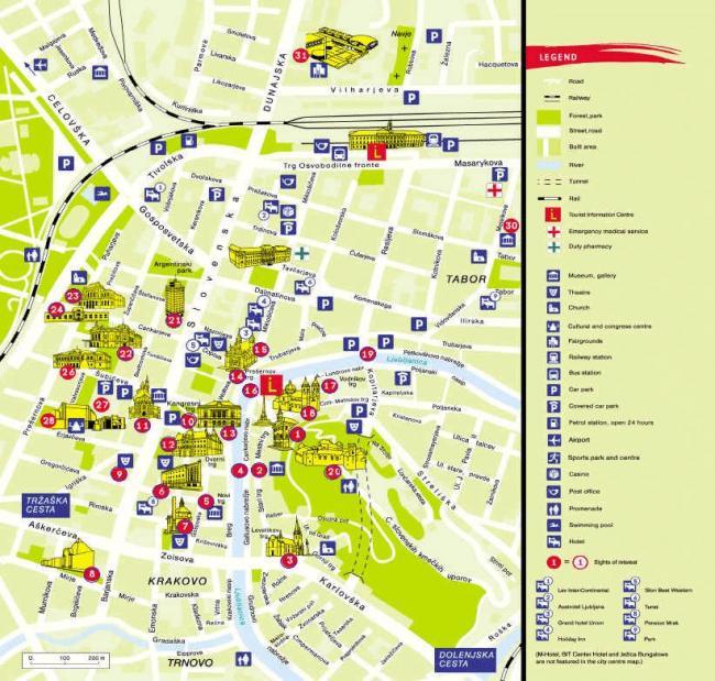 Lublana mapa zabytków