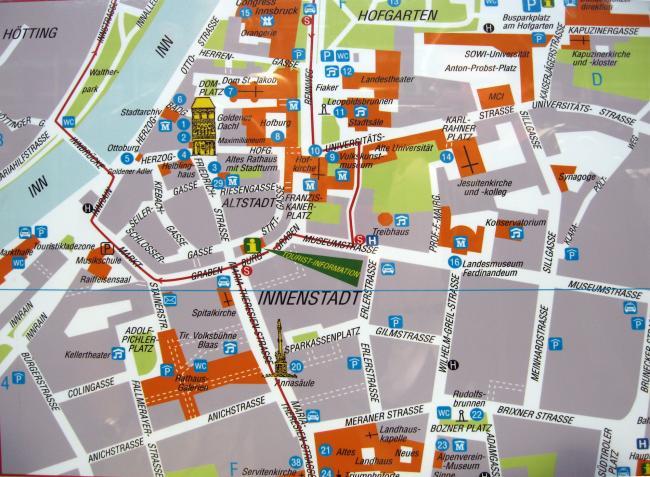 Innsbruck mapa zabytków