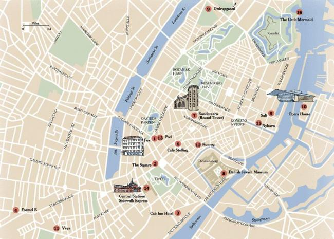Kopenhaga mapa zabytków