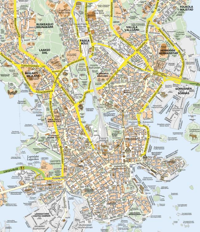 Helsinki mapa zabytków