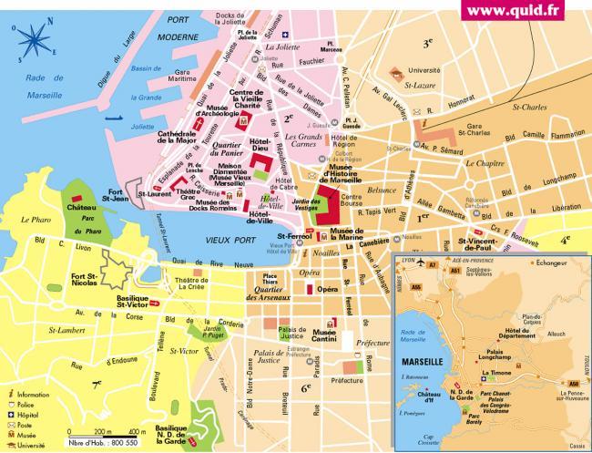 Marsylia mapa zabytków