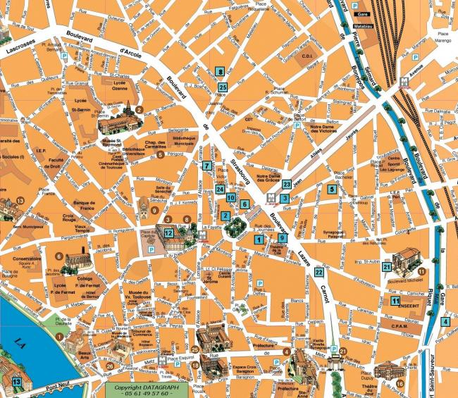 Tuluza mapa zabytkow