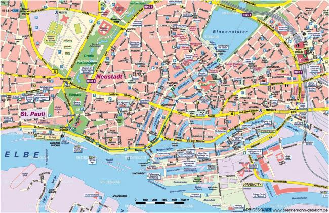 Hamburg mapa zabytków