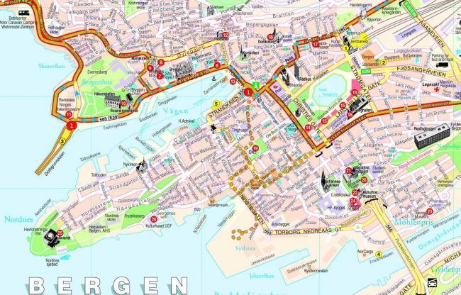 Bergen mapa zabytków