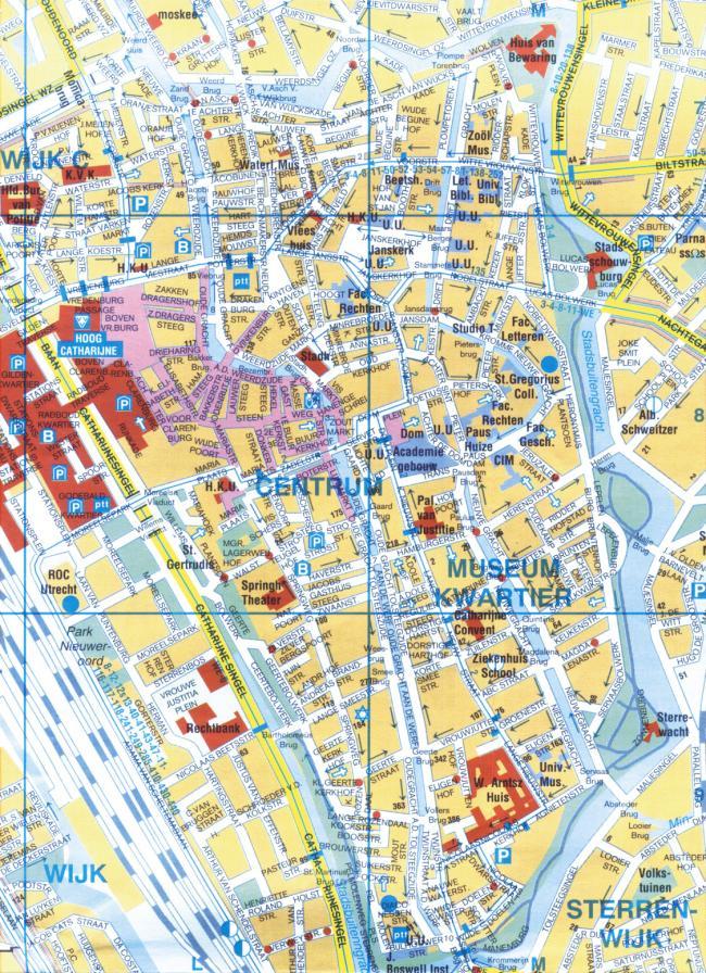 Utrecht mapa zabytków