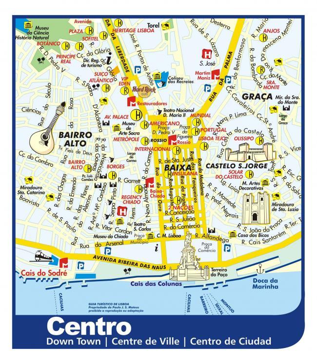 Lizbona mapa zabytków