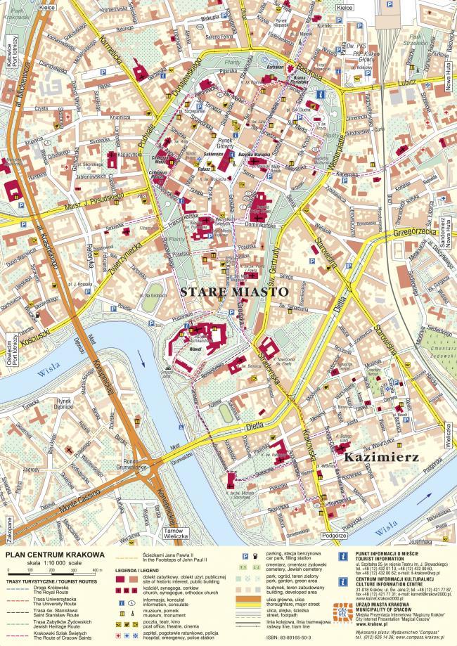 Kraków mapa zabytków