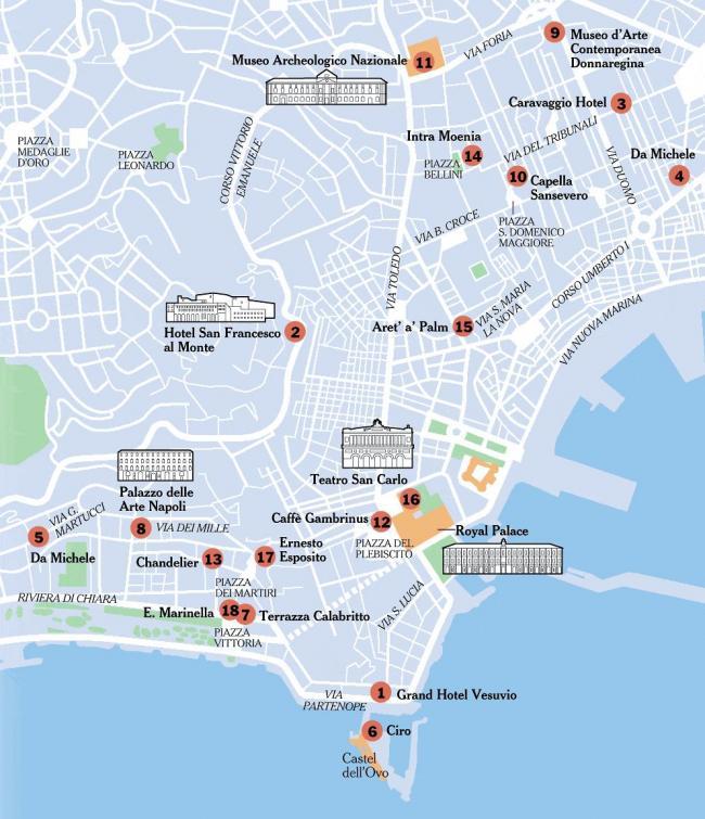 Neapol mapa zabytków