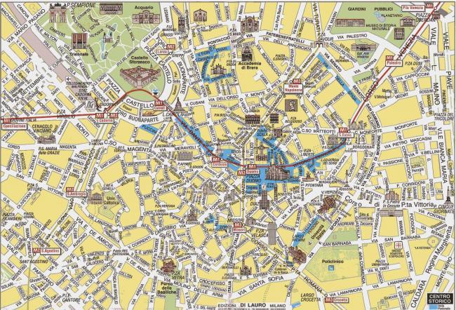 Mediolan mapa zabytk�w