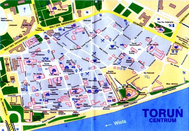 Toruń mapa zabytków
