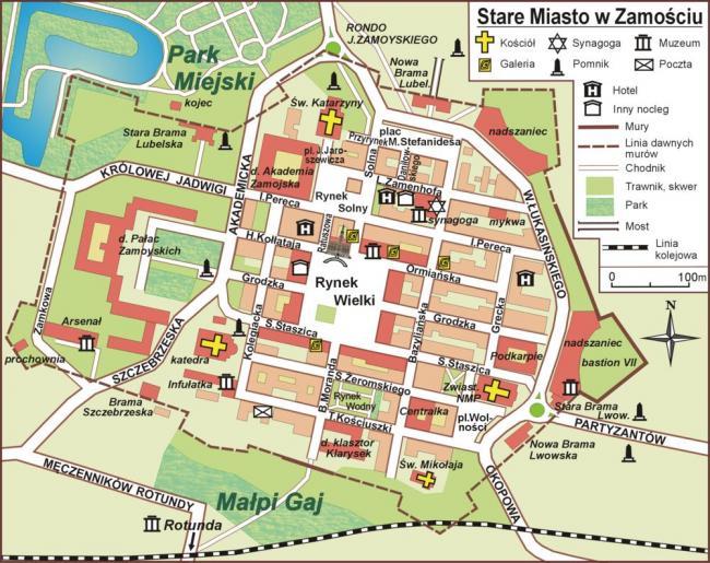Zamość mapa zabytków
