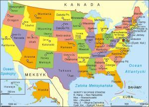 USA - Podział terytorialny Stanów Zjednoczonych