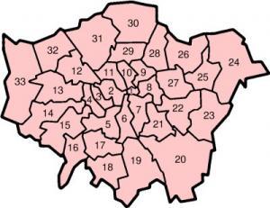 Londyn - Dzielnice Londynu